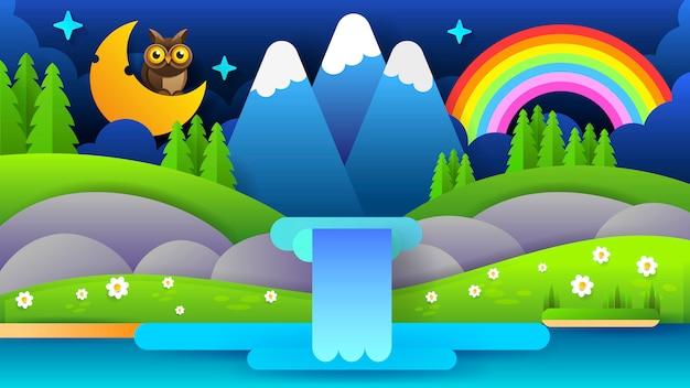 Ilustração bonita com paisagem azul da montanha da noite. Vetor Premium