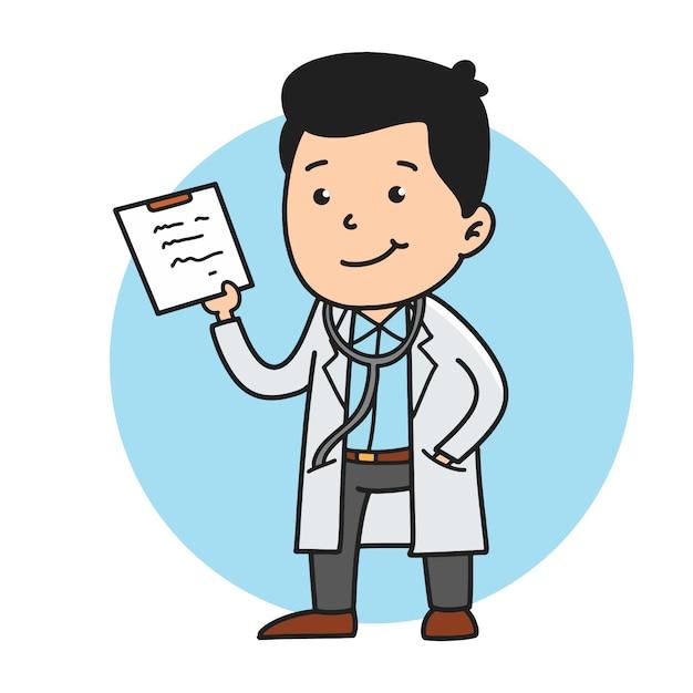 Ilustração bonito do doutor com desenhos animados do estilo do handrawn. Vetor Premium