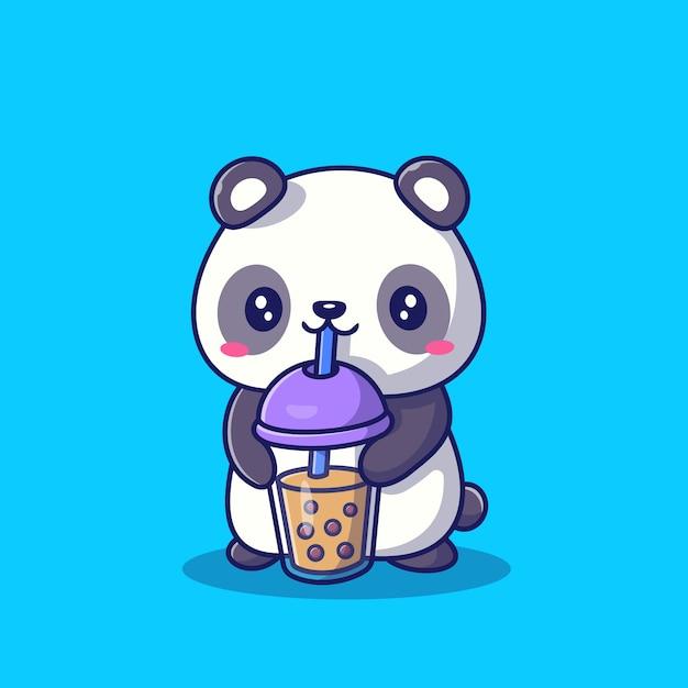 Ilustração bonito do ícone dos desenhos animados de panda drinking milk tea boba. bebida animal ícone conceito isolado premium. estilo cartoon plana Vetor Premium