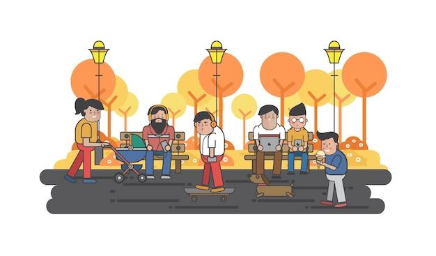 Ilustração, caras, penduradas, parque Vetor grátis