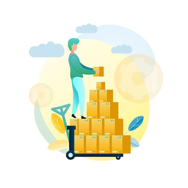 Ilustração carregando cliente de remessa de mercadorias Vetor Premium