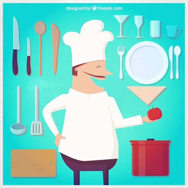 Ilustra o chef e utens lios de cozinha baixar vetores for Utensilios de chef