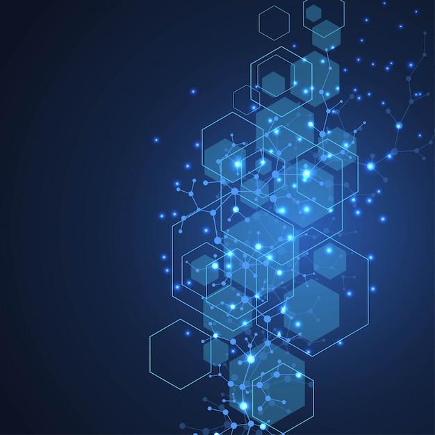 Ilustração científica da hélice dobro do adn do fundo da molécula com profundidade de campo rasa. papel de parede misterioso ou banner com moléculas de dna. vetor de informação genética Vetor Premium
