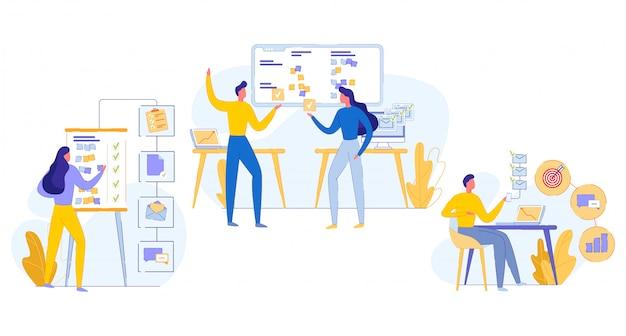 Ilustração cognitiva teamwork task execution flat. Vetor Premium
