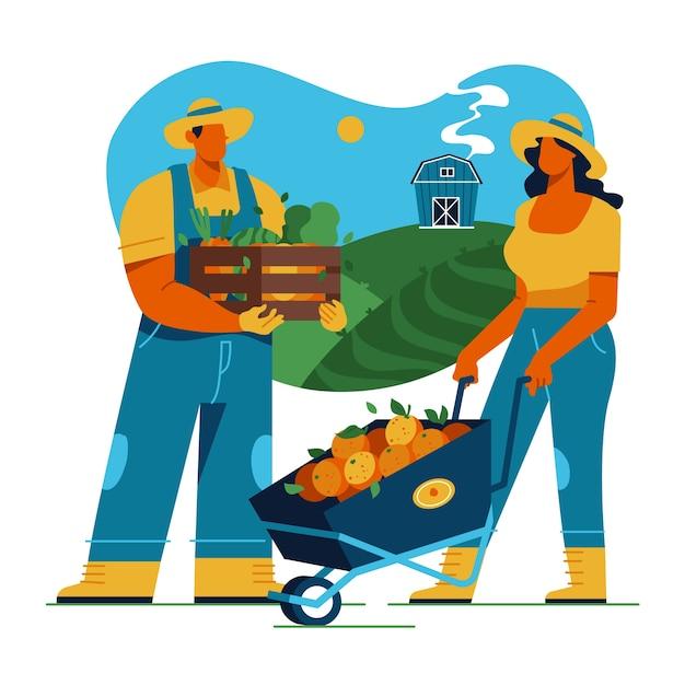 Ilustração colorida com o conceito de agricultura Vetor grátis
