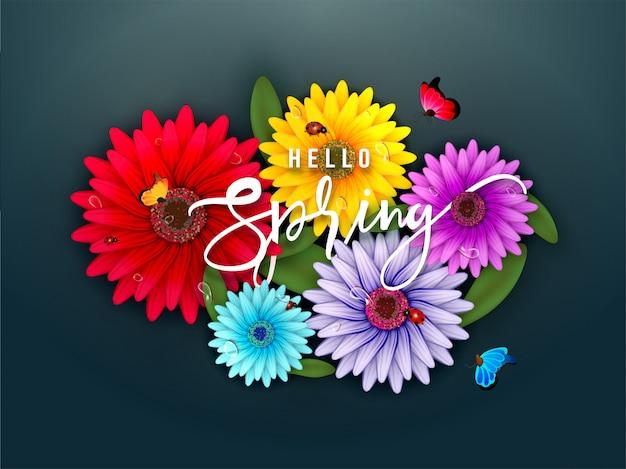 Ilustração colorida das flores da margarida do gerbera Vetor Premium