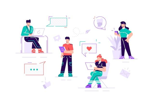 Ilustração colorida de comunicação via internet, redes sociais, bate-papo, vídeo, notícias, mensagens, site, busca de amigos, gráficos para celular na web. ilustração de estilo simples design moderno Vetor Premium