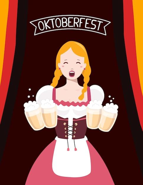 Ilustração colorida de garçonete alemã em roupas tradicionais, segurando canecas de cerveja amarelas, fita de bandeira, texto em fundo escuro. festival e saudação da oktoberfest. Vetor Premium