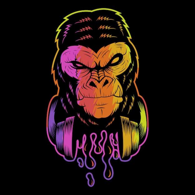 Ilustração colorida de gorila fone de ouvido Vetor Premium