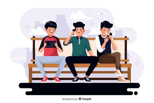 Ilustração colorida de pessoas olhando para seus telefones Vetor grátis