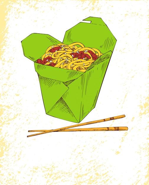Ilustração colorida de refeição asiática de macarrão Vetor Premium