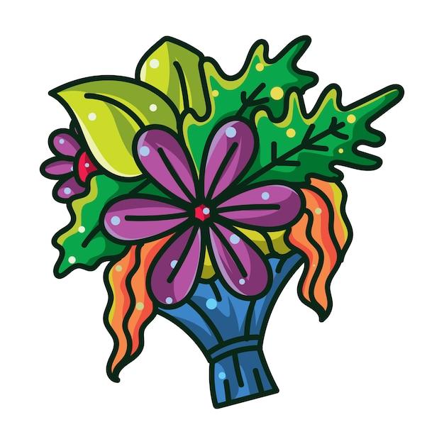 Ilustração colorida de um buquê de flores e plantas Vetor Premium