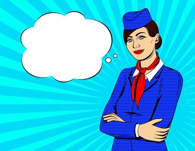 Ilustração colorida do estilo pop art com aeromoça sorridente em pé com as mãos cruzadas sobre fundo sunburst Vetor Premium