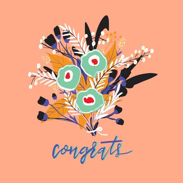 Ilustração colorida do fundo ingênuo do prado da flor Vetor Premium