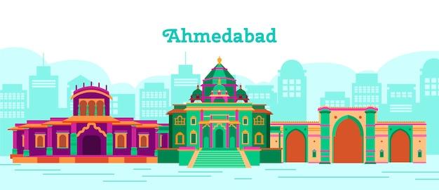 Ilustração colorida do horizonte de ahmedabad Vetor Premium