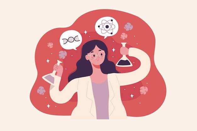 Ilustração colorida feminina cientista Vetor Premium