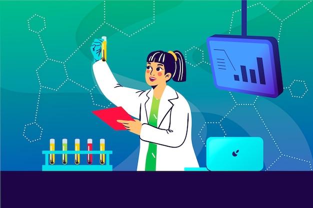 Ilustração colorida feminina de cientista Vetor grátis