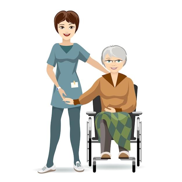 Ilustração colorida mulher sênior sentada na cadeira de rodas com cuidador. isolado no fundo branco. Vetor grátis