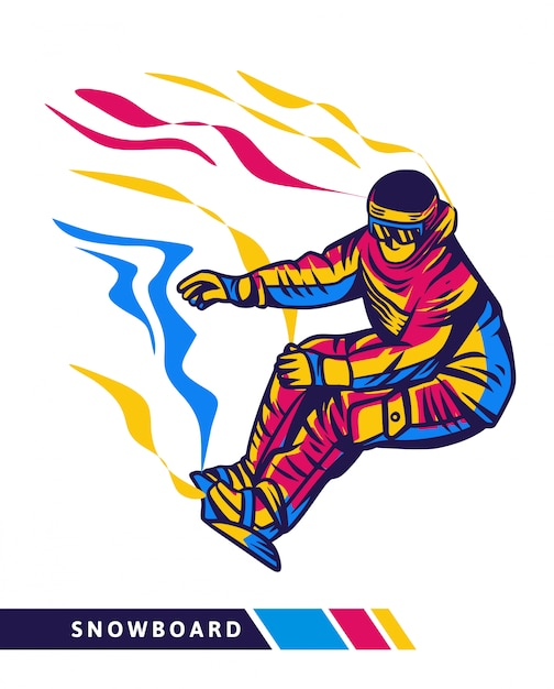 Ilustração colorida snowboard com movimento de snowboard Vetor Premium