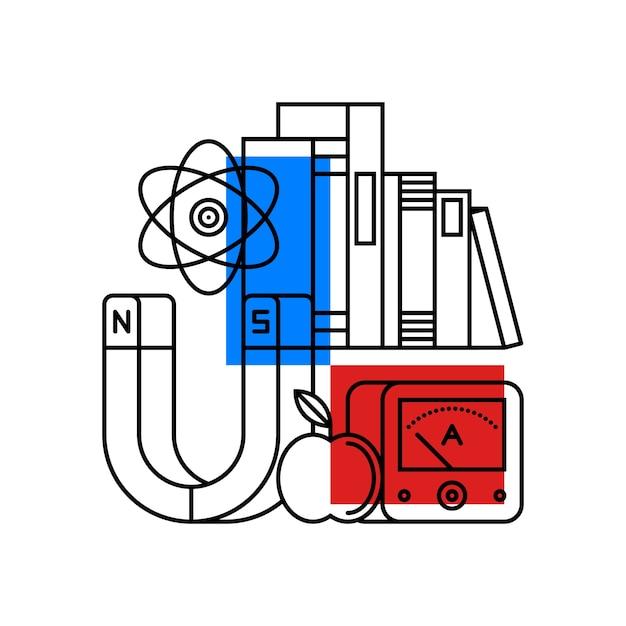 Ilustração colorida sobre física | Vetor Premium