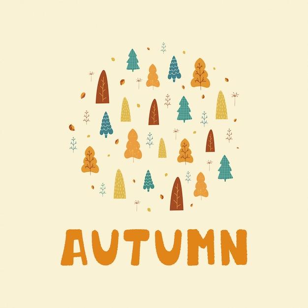 Ilustração com árvores, folhas e texto outono em estilo escandinavo Vetor Premium