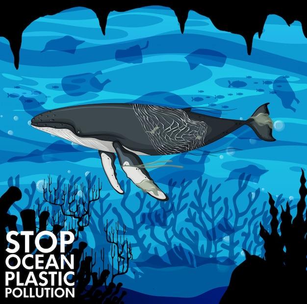 Ilustração com baleia e sacos de plástico Vetor grátis