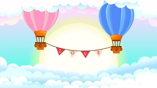 Ilustração com balões de ar quente, feliz dia dos namorados Vetor Premium
