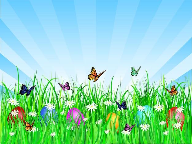 Ilustração com borboletas e ovos de páscoa na grama Vetor grátis