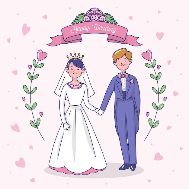 Ilustração com casal de noivos Vetor grátis