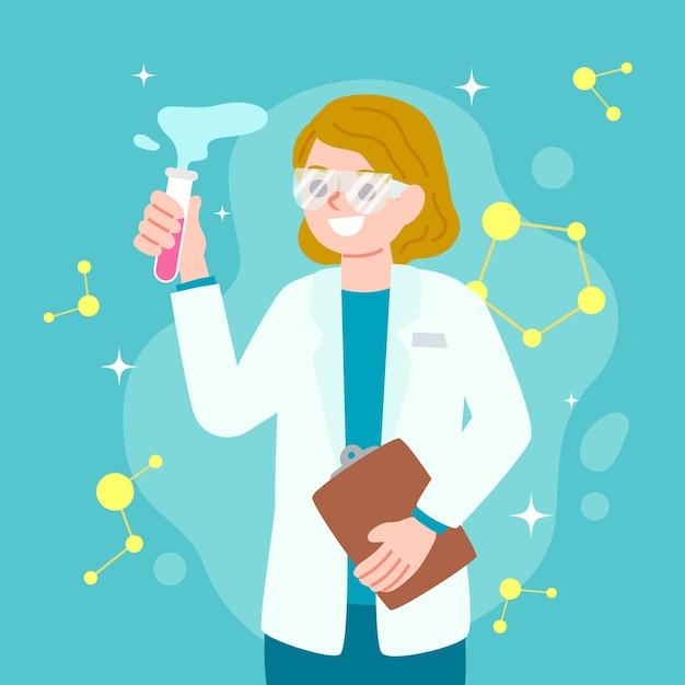Ilustração com cientista de mulher Vetor grátis