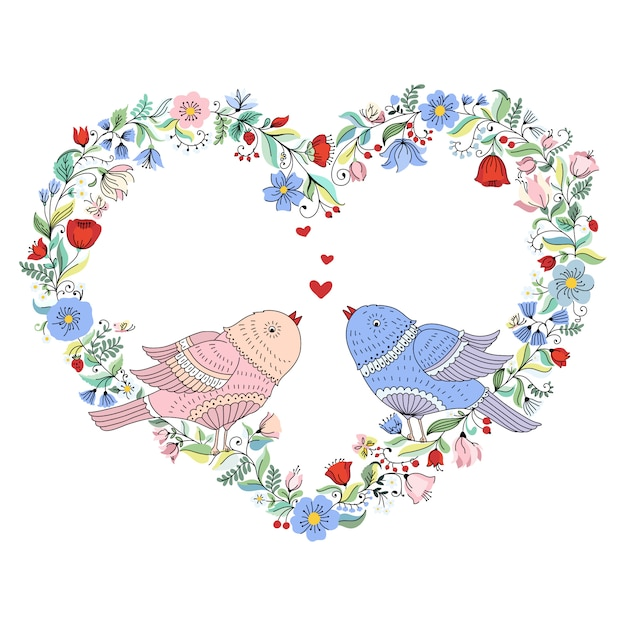 Ilustração com coração de flor de casamento e pássaros. Vetor Premium