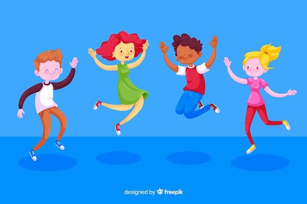 Ilustração com crianças pulando Vetor grátis