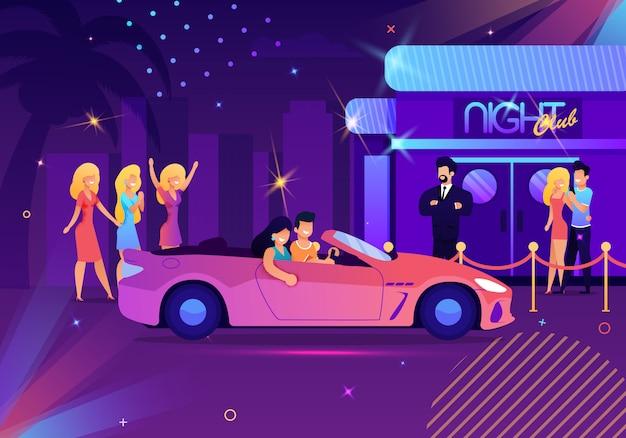 Ilustração com desenhos animados casal dirigindo o carro Vetor Premium