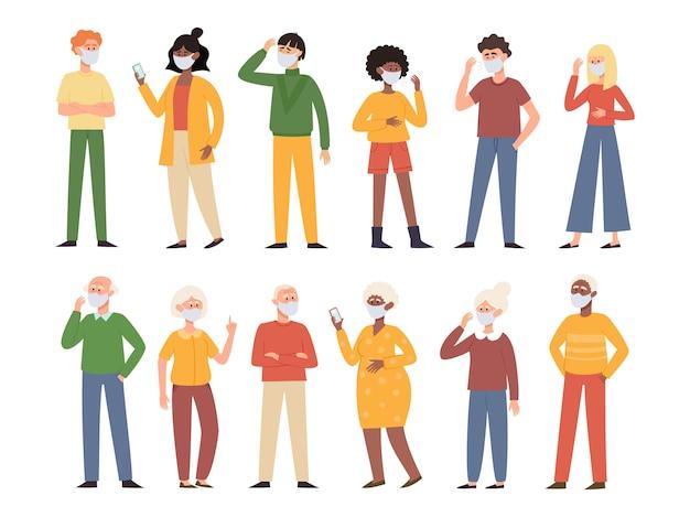 Ilustração com homens e mulheres jovens e velhos Vetor Premium