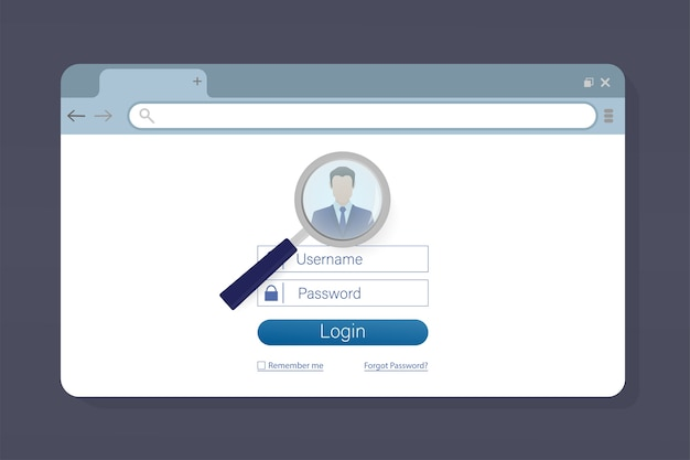 Ilustração com laptop de login de usuário azul. ,. ilustração do ícone do laptop. Vetor Premium