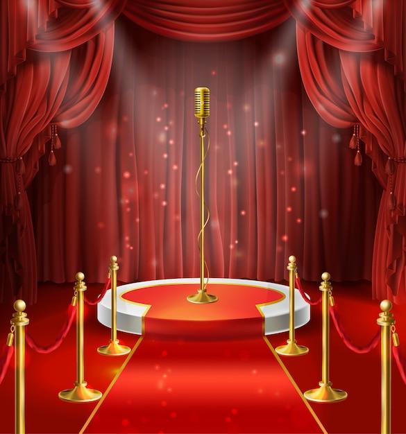 Ilustração com o microfone dourado no pódio, cortinas vermelhas. palco para stand up, performance Vetor grátis