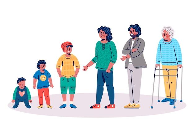 Ilustração com pessoa em diferentes idades Vetor grátis