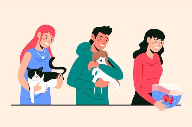 Ilustração com pessoas com diferentes animais de estimação Vetor grátis