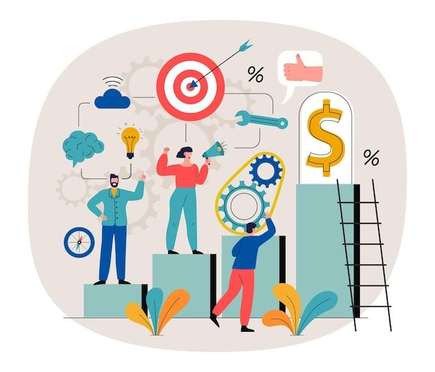 Ilustração com pessoas e diferentes objetivos alcançando fundamentos Vetor grátis