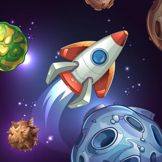 Ilustração com planetas, lua, estrelas e foguete espacial. navio e ciência, astronomia tecnológica, galáxia e ônibus espacial, espaçonave e veículo. Vetor grátis