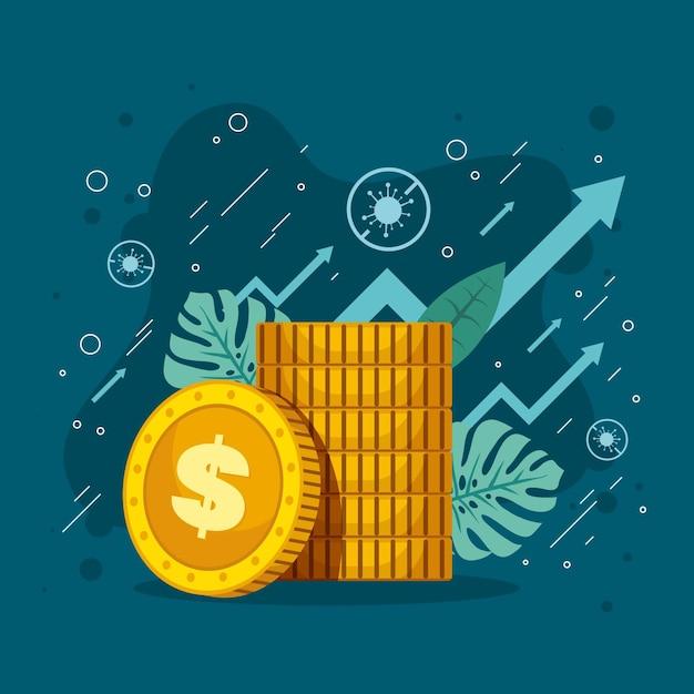 Ilustração com recuperação financeira de coronavírus Vetor Premium