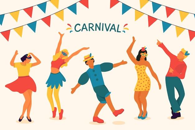 Ilustração com tema de dançarinos de carnaval Vetor grátis