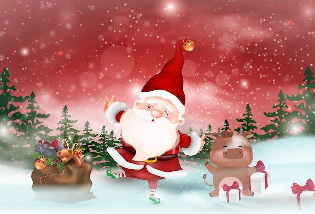 Ilustração com tema de natal. feliz natal. Vetor Premium