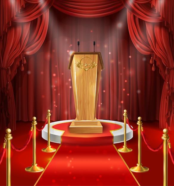 Ilustração com tribuna de madeira com microfones, pódio, cortinas vermelhas e tapete. Vetor grátis