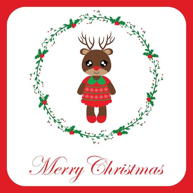 Ilustração com uma menina de rena fofa na grinalda vermelha da baga na beira vermelha apropriada para o design do cartão de chritsmas Vetor Premium