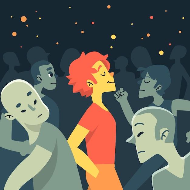 Ilustração com uma pessoa sorrindo na multidão Vetor grátis