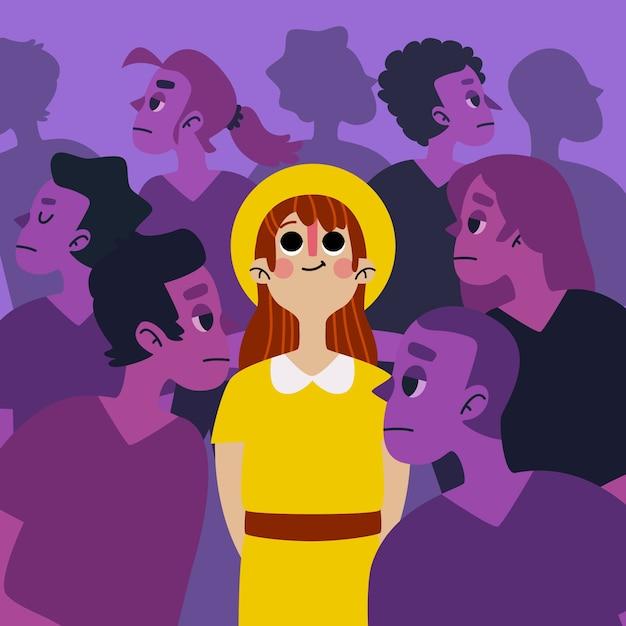 Ilustração com uma pessoa sorrindo no conceito de multidão Vetor grátis