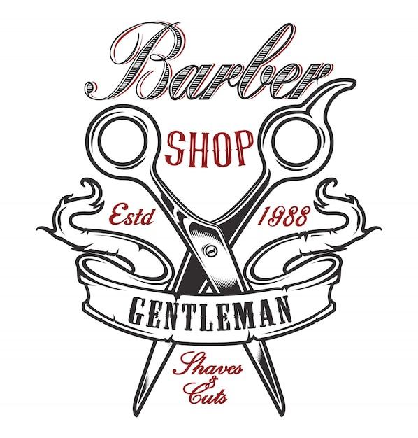 Ilustração com uma tesoura para uma barbearia sobre um fundo claro. Vetor Premium