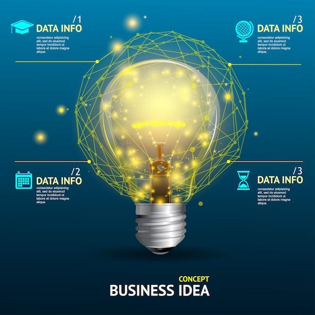 Ilustração conceito de ideia de negócio, lâmpada iluminada Vetor Premium