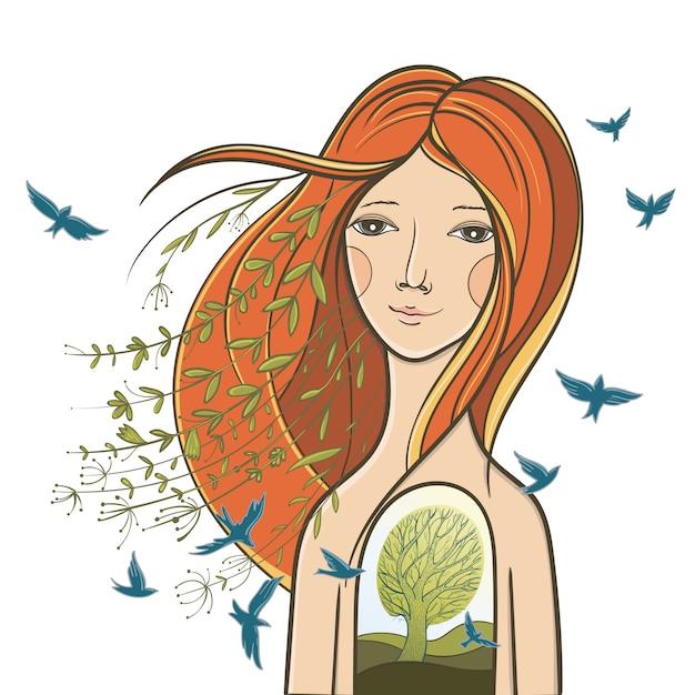 Ilustração conceitual com uma garota tranquila. retrato sobre a alma, a harmonia do interior, sobre a unidade com a natureza. Vetor Premium
